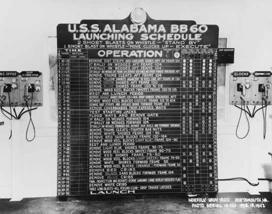 USS Alabama (BB-60) launching schedule, Norfolk Navy Yard, Portsmouth, Virginia, Feb. 15, 1942.