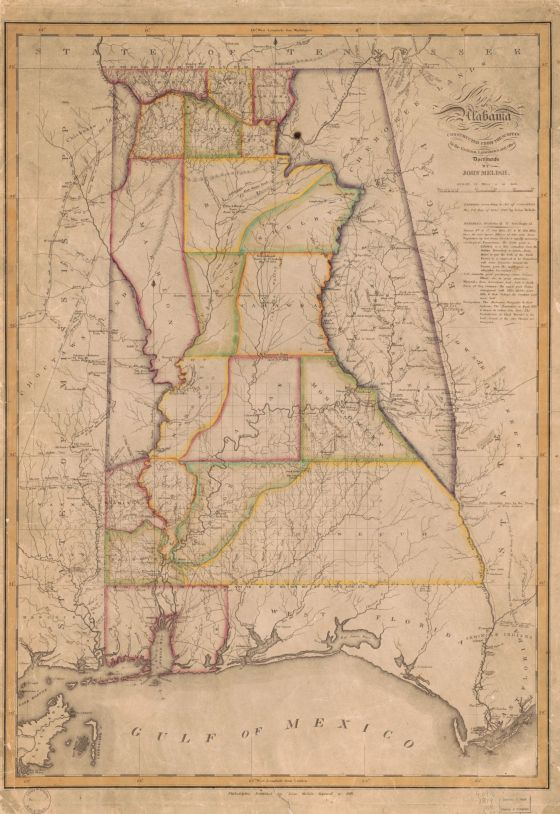 Map of Alabama, c. 1818-1819. (John Melish, Library of Congress, Geography and Map Division)
