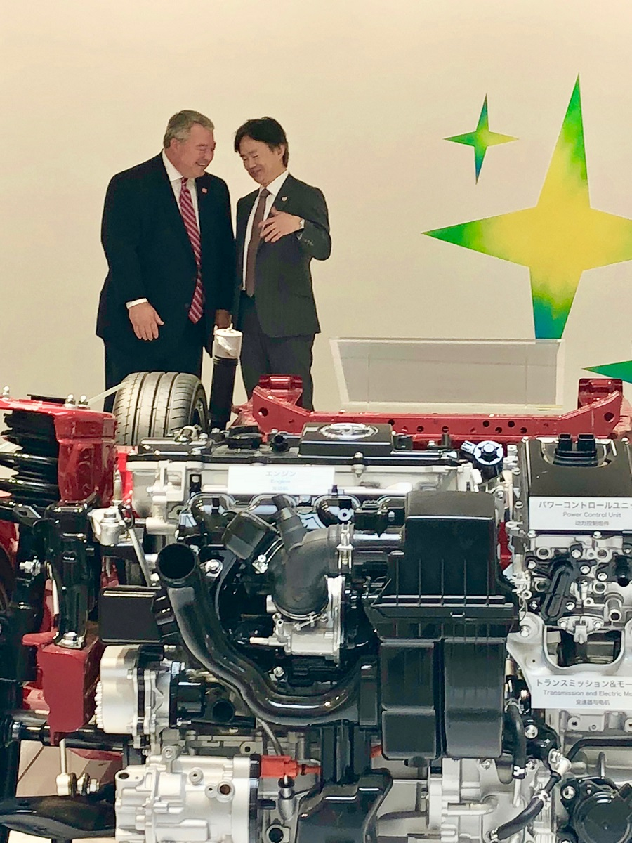 Commerce Secretary Greg Canfield chats with Hironori Kagohashi, an executive vice president of Mazda Toyota, during a visit to the automakers' operations in Japan. Canfield is leading an Alabama team meeting with Toyota and Mazda, which are preparing to build an assembly plant in Huntsville. (contributed)