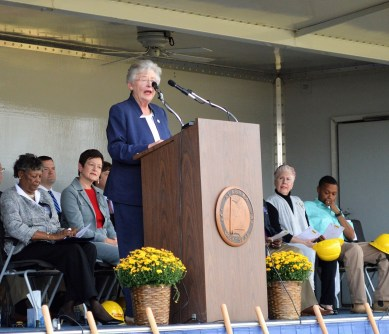Alabama Gov. Kay Ivey speaks at the groundbreaking of the Love's Travel Stop and Country Store in Eutaw. (Anna Catherine Roberson / Alabama NewsCenter)