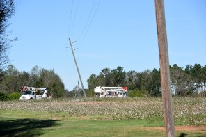 Leaning poles are a common sight after the storm. (file)