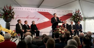 Toyota's Jim Lentz speaks at the groundbreaking ceremony for Mazda Toyota Manufacturing USA's Alabama assembly plant, which will employ 4,000 people. (contributed)