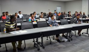 Students listen at the presenters at the annual leadership conference. (Michael Tomberlin / Alabama NewsCenter)
