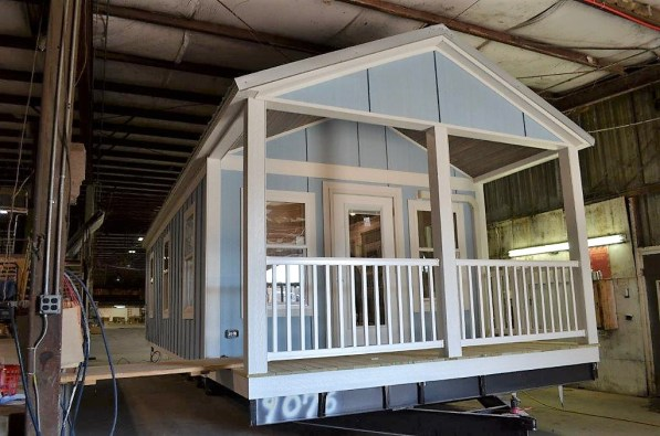 The tiny houses are finished and ready for owners when they leave the Stone Canyon Cabins factory in Brilliant. (Michael Tomberlin / Alabama NewsCenter)