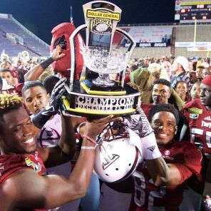 Troy Trojans bring home the trophy in the Dollar General Bowl. (Instagram)