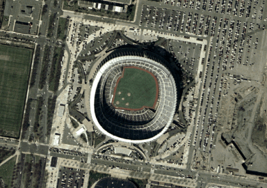 An aerial view of Veterans Stadium in 2002. The stadium was designed by Hugh Stubbins in 1971. (NASA, Wikipedia)