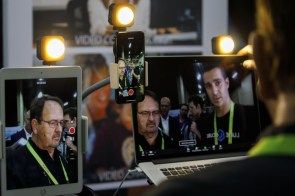 Lume Cube Air VC lighting kits for videoconferencing and livestreaming are demonstrated on Apple products. (Patrick T. Fallon/Bloomberg)