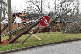 Power line damage following an EF-3 tornado that swept through east Alabama in March 2018. (file)