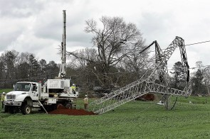 An Alabama Power crew works to repair damaged lines and restore power in Jacksonville after an EF-3 tornado swept through east Alabama in March 2018. (Phil Free/Alabama NewsCenter)