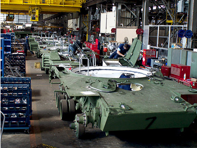 M1 Abrams battle tanks undergoing a rebuild at Anniston Army Depot. The depot is the main facility for the maintenance of the U.S. Army's combat vehicles and tanks and serves as a weapons storage and disposal site. (From Encyclopedia of Alabama, courtesy of U.S. Department of Defense)