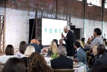 Birmingham journalism legend Jesse Lewis is recognized at the Power of Culture and Contribution luncheon at The Theodore in the Lakeview neighborhood in downtown Birmingham. (Christopher Jones / Alabama NewsCenter)