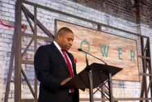 Jonathan Porter, vice president of Birmingham Division at Alabama Power, speaks at the Power of Culture and Contribution luncheon at The Theodore in the Lakeview neighborhood in downtown Birmingham. (Christopher Jones / Alabama NewsCenter)