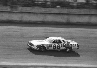 Darrell Waltrip won the 1977 Winston 500 at Talladega ahead of a disgruntled Cale Yarborough, who slipped on the track during his last-ditch effort to pass. (ISC Archives via Getty Images)