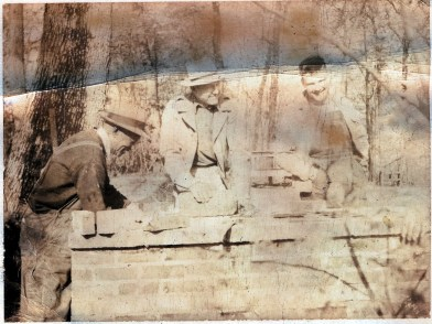 Plato Jones Jr., left, with Carl Martin and Fred Martin Jr. at the Woodroof camp on the Elk River in 1949. Jones inherited his father's talents for both brickmasonry and barbecuing. (contributed)
