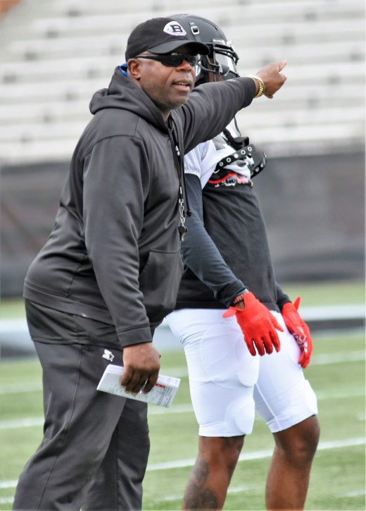 Coach Tim Lewis works with his team in practice as it prepares for its first game. (Solomon Crenshaw Jr./Alabama NewsCenter)