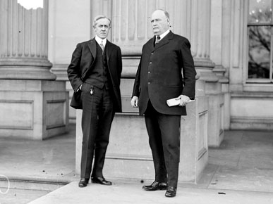 U.S. Rep. Henry D. Clayton Jr. (D-AL), right, of Alabama poses with U.S. Rep. John W. Davis (D-WV) in Washington, D.C., ca. 1910. The lawmakers worked together passing the Clayton Antitrust Act of 1914. (From Encyclopedia of Alabama, courtesy of the Library of Congress)