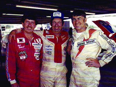 Alabama Gang members Neil Bonnett, Donnie Allison and Bobby Allison. The Allisons brought a lot of excitement to Talladega in the 1970s. (From Encyclopedia of Alabama, courtesy of the Alabama Sports Hall of Fame)
