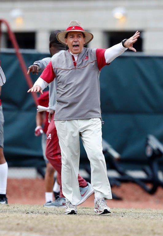 Nick Saban coaches during Alabama's spring practice Friday. (Noah Sutton/UA Athletics)