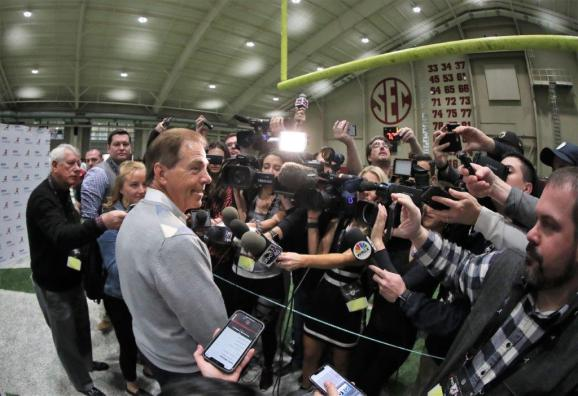 Nick Saban meets with the media at Alabama Crimson Tide Pro Day. (Kent Gidley/UAAthletics)