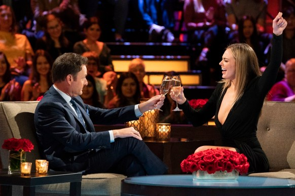 "Hannah Brown appears with host Chris Harrison on ""The Women Tell All"" episode of ""The Bachelor."" (Eric McCandless/ABC)"