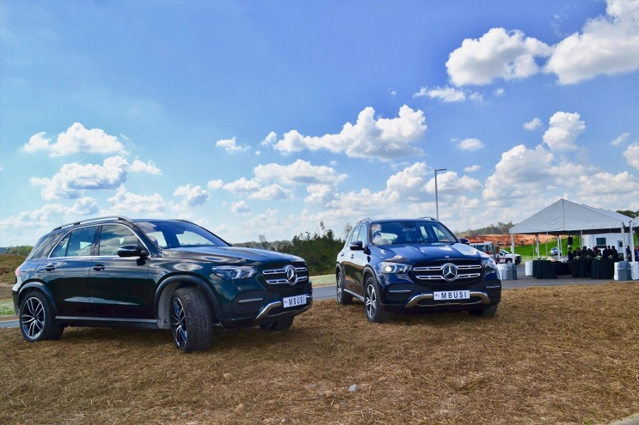 The redesigned, next-generation 2020 Mercedes GLE sport utility was on display at a groundbreaking for the automaker's battery plant in Bibb County. Mass production of the SUV started at Mercedes' Alabama assembly plant in October. (contributed)