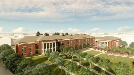 The new academic classroom and laboratory complex, left, and campus dining facility, right, will be constructed where Parker Hall and Allison Laboratory currently stand on the campus of Auburn University. (Auburn University)