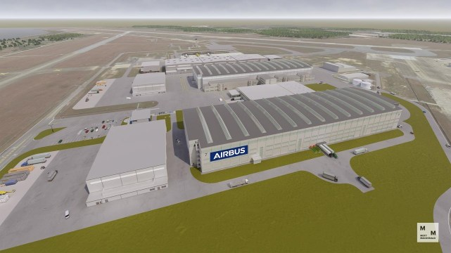 This rendering from Mott MacDonald shows what the Airbus A220 assembly facility will look like once it's completed in Mobile. (contributed)