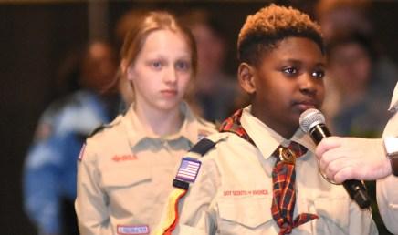 Elyton Village's Jeremiah Brown questions Saban as Ellison Hicks of Homewood awaits her turn. (Solomon Crenshaw Jr./Alabama NewsCenter)