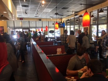 A busy day at Moe's. (Melissa Johnson Warnke/Alabama Retail Association)