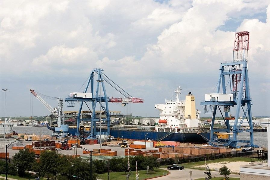 A ship takes on cargo at the Port of Mobile, a key cog in Alabama's export machine. (contributed)