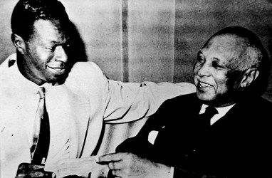 "Jazz crooner Nat ""King"" Cole and ""Father of the Blues"" W. C. Handy. In 1958, Cole played fellow Alabama native Handy in the film St. Louis Blues, based on Handy's life and career and named after his most famous composition. (From Encyclopedia of Alabama, Alabama Music Hall of Fame)"