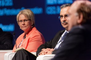 Vicki Hollub, president and chief executive officer of Occidental Petroleum Corp., left, attends a panel discussion at the ADNOC Downstream Investment Forum in Abu Dhabi, United Arab Emirates, in 2018. (Christophe Visieux/Bloomberg)