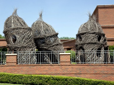 """Lookin' Good! Lookin' Good!,"" a site-specific sculpture by Patrick Dougherty near the entrance of the Montgomery Museum of Fine Art. The work was constructed in March 2009 and exhibited through May 2010. (From Encyclopedia of Alabama, courtesy of The George F. Landegger Collection of Alabama Photographs in Carol M. Highsmith's America, Library of Congress, Prints and Photographs Division)"