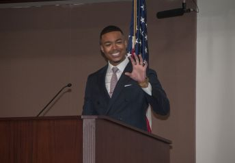 AABE scholarship luncheon speaker and Alabama Power employee Julian Grant shared inspiring words with students. (Billy Brown)