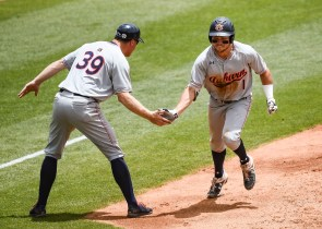Judd Ward (1) rounds the bases as Auburn beats North Carolina to advance to the College World Series.,(Cat Wofford/Auburn Athletics)