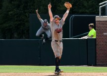 Auburn advances to the College World Series with its win over North Carolina. (Cat Wofford/Auburn Athletics)