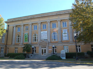 The Alabama Museum of Natural History is housed in Smith Hall on the campus of the University of Alabama in Tuscaloosa. A repository for the state's cultural and natural history collections, the holdings range from mining implements to fossil whale skeletons to a chunk of the Hodges Meteorite, the only extraterrestrial object to strike a human. (From Encyclopedia of Alabama, photograph by Justin Dubois)