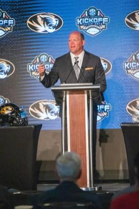 Missouri coach Barry Odom speaks at SEC Media Days. (Dennis Washington / Alabama NewsCenter)