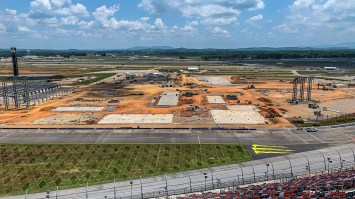 Construction continues on the new Talladega Garage Experience at Talladega Superspeedway. (Dennis Washington / Alabama NewsCenter)