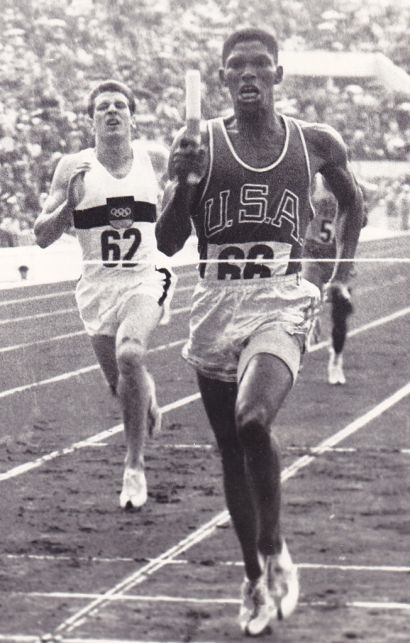 Photograph of Otis Davis competing in the 4x400 meter relay during the 1960 Olympic Games. (Wikipedia)