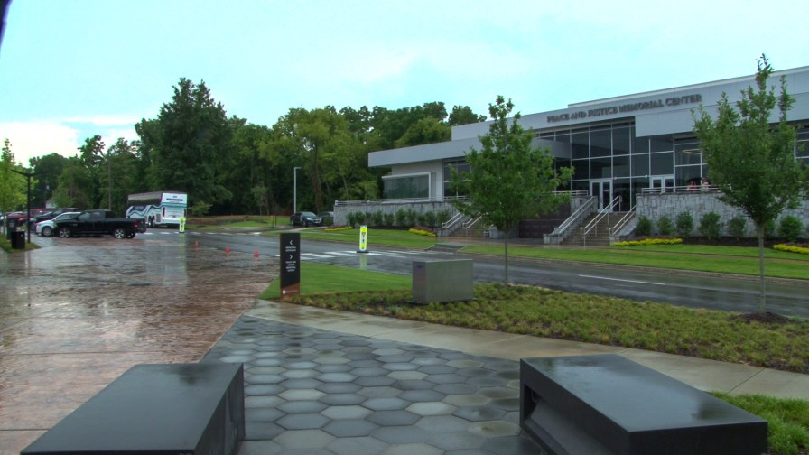 Outisde the Peace and Justice Memorial Center in Montgomery. (Dennis Washington / Alabama NewsCenter)