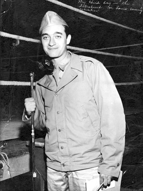 "Broadcaster Mel Allen served in the U.S. Army from 1943 to 1946 during World War II, hosting the ""Army Hour"" radio show. Later in his career, Allen entertained troops stationed overseas. (From Encyclopedia of Alabama, courtesy of W.S. Hoole Special Collections Library, The University of Alabama Libraries)"
