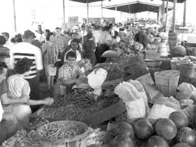 Vegetables and other produce displayed at a farmers market on Finley Avenue in Birmingham in 1961. (From Encyclopedia of Alabama, Birmingham Post-Herald, courtesy of Birmingham Public Library Archives)