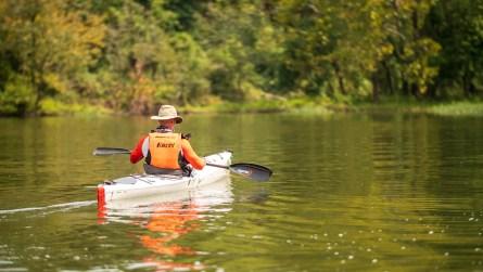 A racer heads downstream after the first portage. (Dennis Washington / Alabama NewsCenter)