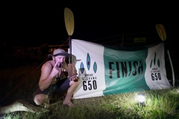 Bobby Johnson celebrates his winning finish of the inaugural Great Alabama 650. (contributed)