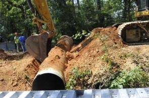 Old Culverts on St. Clair County's Little Canoe Creek are removed to make way for a bridge. (Karim Shamsi-Basha/Alabama NewsCenter)