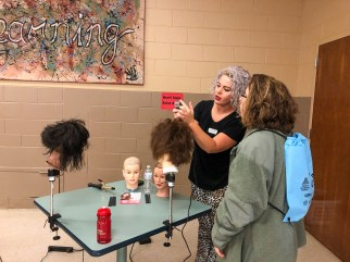 A student learns about career opportunities during Worlds of Work at Bevill State Community College in Hamilton. (Melinda Weaver / Alabama Power)
