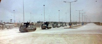 A convoy of armored personnel carriers during the Battle of Iraq in 1990. (contributed)