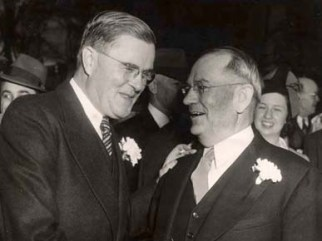 Former Alabama Governor Frank M. Dixon, left, and newly elected Governor Chauncey Sparks in 1943. (From Encyclopedia of Alabama, courtesy of Alabama Department of Archives and History)