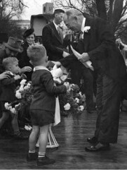 Newly elected Gov. Chauncey Sparks greets supporters during his inauguration in Montgomery on January 19, 1943. (From Encyclopedia of Alabama, courtesy of Alabama Department of Archives and History)